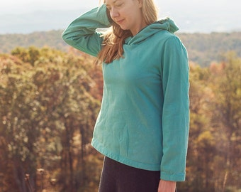 Mountain Hoodie, Organic Cotton Fleece and Velvet Trim Sweatshirt
