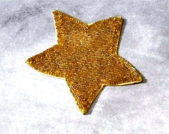 Applique Gold Glass Beaded Star Art Deco Vintage Sewing Supplies 1930's