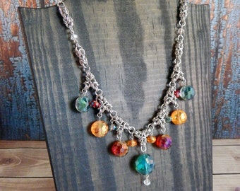 Carnival Queen Byzantine Crown Beaded Statement Necklace