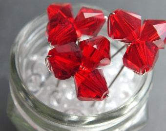 red hair pin,  large crystal hair pin, trio, wedding or prom, set of 3