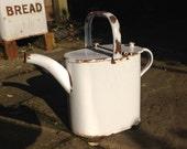 White enamel watering can, medium vintage watering can