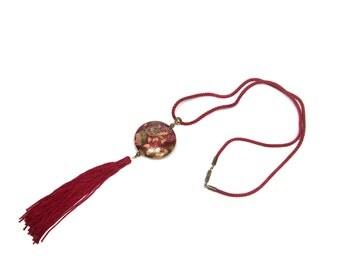 vintage 1970s cloisonne tassel necklace / burgundy / butterflies floral / vintage necklace / vintage jewelry