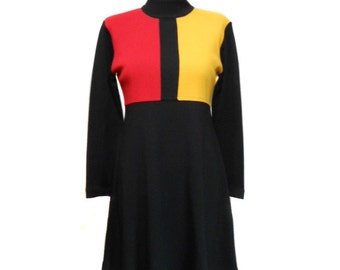 vintage mod color block dress / Karin Stevens / wool blend / black red yellow / knit dress / women's vintage dress / size small