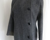 Vintage 70s womens coat, ladies coat, warm wool coat, long coat,grey black tweed coat, winter coat