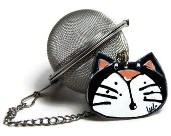 Stainless steel mesh tea ball with black cat head - Black cat tea ball