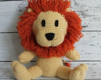Leonard the Lion, Crochet Lion, Stuffed Animal, Lion Amigurumi, Plush Animal, Made to Order