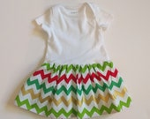 White 0-3 month Onesie Dress - Christmas Chevron - Baby's First Christmas