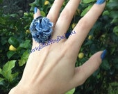 Denim Jean Fabric Flower Ring, handmade, recycled denim / jean, gold plated or silver plated adjustable ring base, OOAK, egst,made in Greece