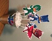 Fully Assembled PJ Masks Centerpiece - Cat Boy - Gekko - Owlette - PJ MASKS Birthday Party Decoations