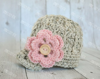 Newborn baby girl crochet newsboy hat, baby girl hat, newborn girl coming home outfit, newborn photo prop, photo outfit, baby girl clothes