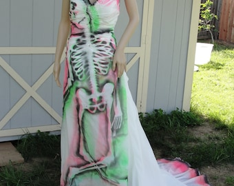 Large Xl size 16 W hand painted skeleton wedding dress / dia de los muertos / day of the dead /  halloween costume gown neon / corset XXL