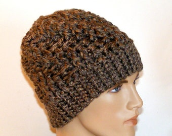 Crochet Knit Winter Beanie Hat, Bulky, Warm, Thick Brown Granite Yarn, Skull Cap, Ski Hats for Women or Men, Cold Weather Hats