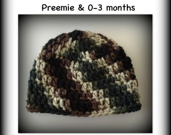 SALE camo baby hat, READY to SHIP camoflage hat, baby hat, photo prop, crochet, preemie, newborn, 0-3 months, camouflage