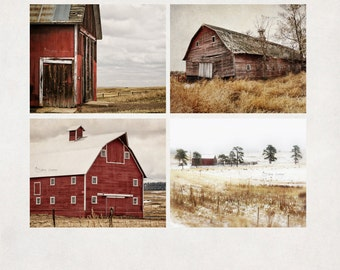 Barn Photography, Farmhouse Wall Art, Red & Brown Decor, Farm Scene Landscape Prints, Set of 4, SAVE 20%
