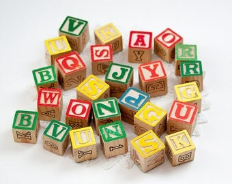 Assortment of Wooden Alphabet Blocks