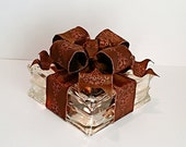 Light Up Glass Block / Present For Decoration With a Brown & Copper Bow