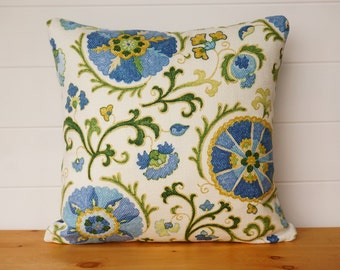 Turquoise Pillow Cover, Blue Green Stripes, Summer Pillow, Kaufmann Suzani  Aqua Floral Designer