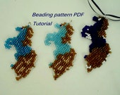 Beaded Pendant Horse.  Beading Tutorial. Beading pattern PDF. Instant download.