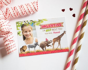 Kids Valentines Photo Cards, Valentine Printables for School, Classroom Valentine, Valentine Printable, Animal, Zoo, Safari, Girl Valentine
