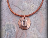 Gemini pendant zodiac symbol necklace artisan copper or bronze astrological sign jewelry The Twins
