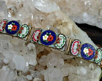 Italy Micro Mosaic Panel Bracelet with 5 Curved Panels, 8 Inch Wearable Length, Floral Pattern in Red, White, Green and Cobalt Blue, Nice