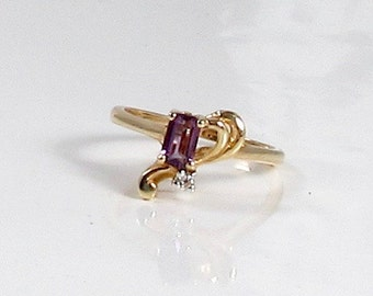 Vintage Amethyst and Diamond Ring; February Birthstone Ring; Amethyst Ring; Free Form Amethyst Ring; Vintage Amethyst Ring