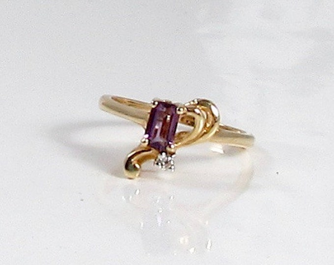 Vintage Amethyst and Diamond Ring; February Birthstone Ring; Amethyst Ring; Free Form Amethyst Ring; Vintage Amethyst Ring
