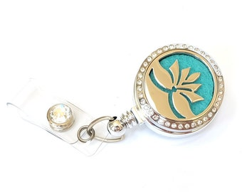 Essential Oil Diffuser Badge Reel - Aromatherapy Name Badge Holders - Lotus Badge Clip - Retractable Badges - Nurse Jewelry - BadgeBlooms