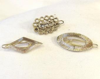 Retro Hair Accessories - Vintage Barrette Set - Metal Abstract Barretttes - Hair Clip Set