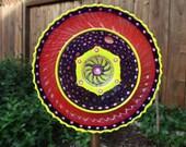Colorful Glass Flower Garden Art Hand Painted - Garden Decor - Garden Sculpture - Outdoor Decor - Yard Art - Suncatcher - Garden Gift