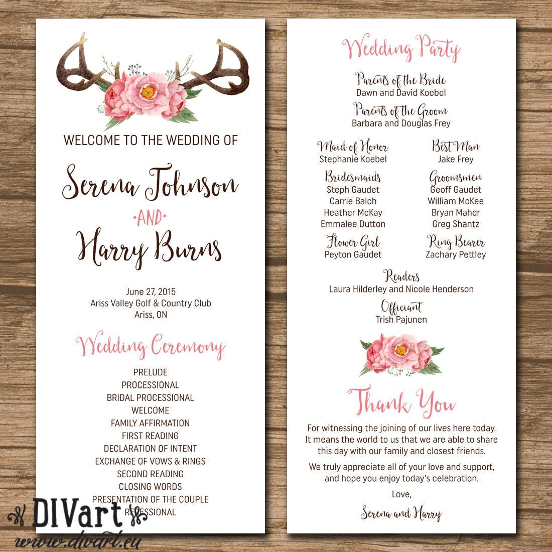 Programs: Rustic Wedding Program Wedding Ceremony Order Of Events