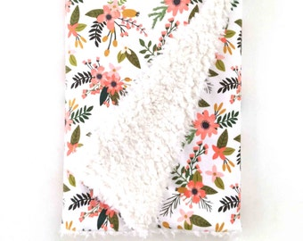 Baby Blanket Coral Sprigs and Blooms. The Cloud Blanket. Faux Fur Baby Blanket. Minky Baby Blanket. Coral Floral Baby Blanket.