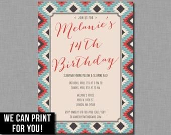 Tribal Birthday Invitation girl teen tween adult Digital or Printed