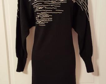 80's PEARL BEADED DRESS // Ann Tjian for Kenar 2 Black Wavy Dot Stripes Party Dress Batwing Oversized Size S/M/L Wool Hong Kong Gold