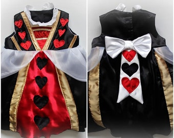 Baby Girls Queen of Hearts Costume Dress Ruffles Bows Front and Back Handmade Unique - Ready to Ship