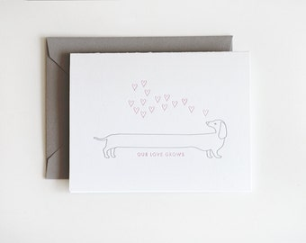 Letterpress Valentine Love Dog Single Card / Valentine's Day Card / Anniversary Card