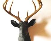 BLACK Natural XL Faux Taxidermy Deer Head wall mount wall hanging / stag head / woodland decor / faux taxidermie / black animal head