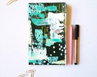 MEDIUM JOURNAL Blank Notebook Hand Painted 5 x 8.25 Moleskine Prayer Journal Travel notebook journal modern art Thankful journal notebooking
