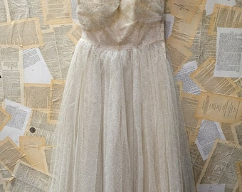 SALE- 1950s Sparkle Cream/Ivory Party Dress