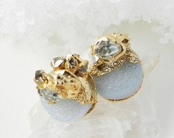 20% OFF SALE druzy earrings, druzy studs studs, gold earrings, diamond earrings, herkimer diamond, white druzy, diamond studs, herkimer earr
