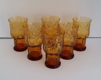 Vintage Set of Six Libbey Amber Country Garden Daisy Tumblers -- Retro, Large Size -- 6 inches tall