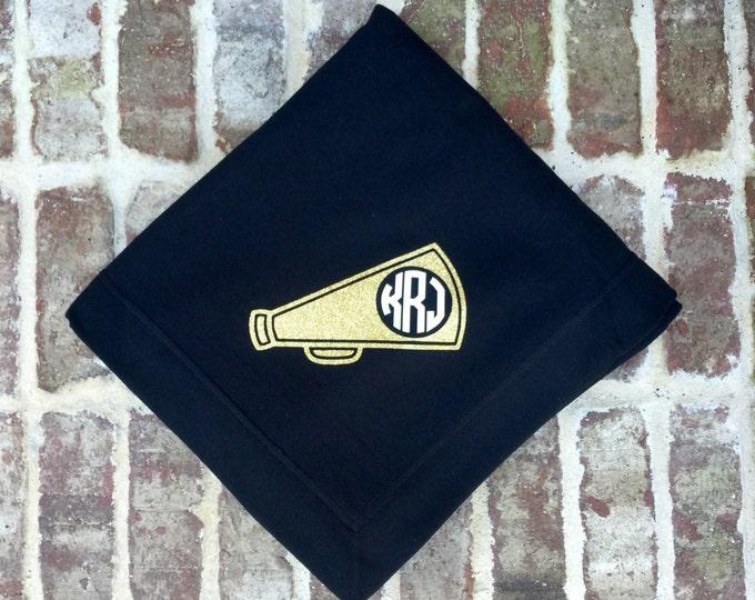 Monogrammed blanket, Monogram Cheer blanket, Cheerleader gifts, Monogrammed gift, Megaphone blanket, Cheer coach gifts