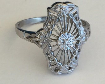 Diamond Filigree Ring - Openwork 10k White Gold Solitaire Floral Ring