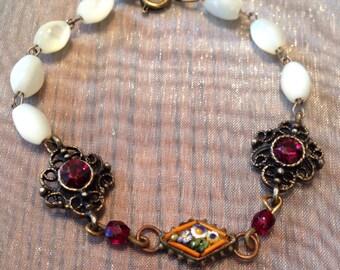 Micro Mosaic Bracelet Vintage Wedding Bridal 1920 1930 Garnet MOP Mother Pearl