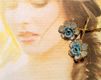 Decorative Hair Pins Jewelry Vintage 1940's Bridal Blue Austria Hand Painred And Enamel Bobby Pins