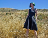 BLACK Galactic Scavenger Flared Skirt Dress - With Pockets!