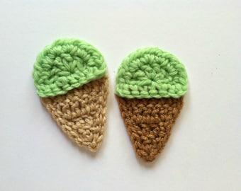 "1pc  3.5"" Crochet PISTACHIO Ice Cream Cone Applique"