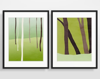 Large Art Set of 2, Tree Art, Forest Print, Rustic Wall Decor, Woodland Decor, Modern Wall Art, Abstract Art, Green Art