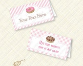 Donut Party Buffet Card Printable Tent editable text doughnut instant download place card placecard stripes gingham pink treat bag pdf diy