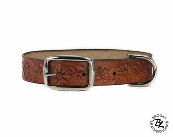 Leather Dog Collar, Embossed Leather Dog Collar, Leather Pet Collar. 3/4 Inch Wide Embossed Leather Dog Collar